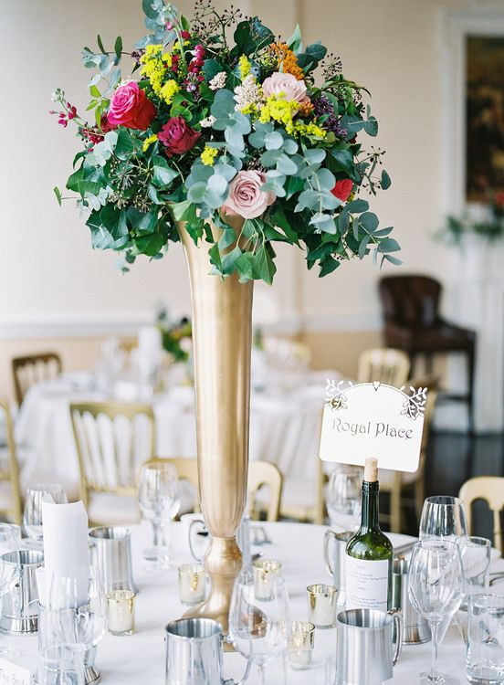 Tall Floral Centrepieces   Classic Wedding at Trafalgar Tavern, Greenwich, London   Ann-Kathrin Koch Photography