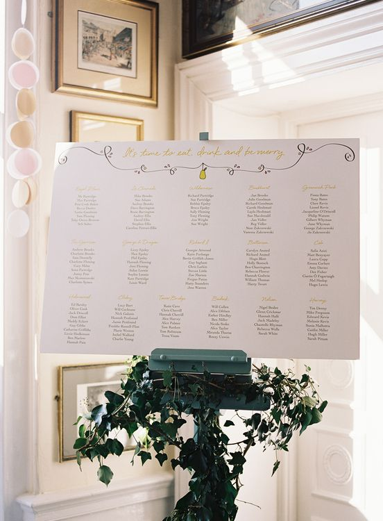Seating Chart   Classic Wedding at Trafalgar Tavern, Greenwich, London   Ann-Kathrin Koch Photography