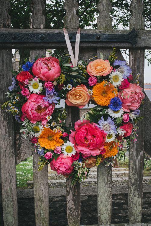 Brightly Coloured Flower Heart Wreathe