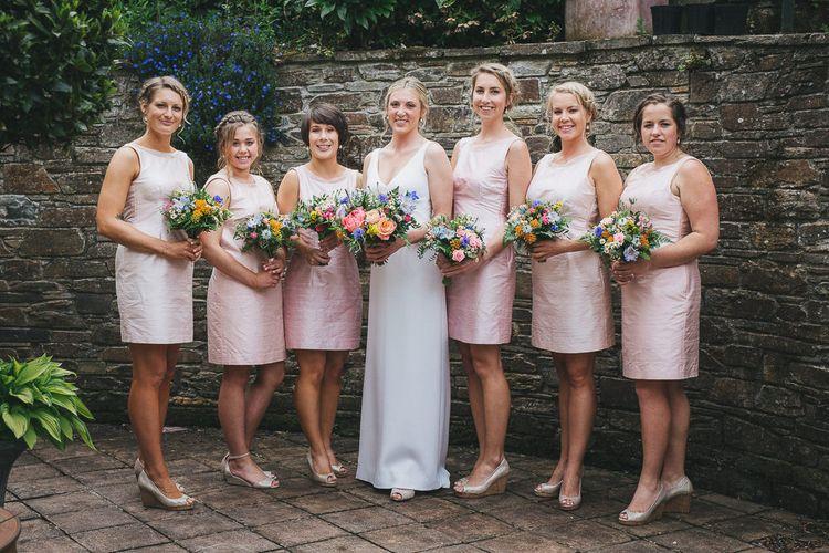 Bride & Bridesmaids in Pink Bespoke Dresses