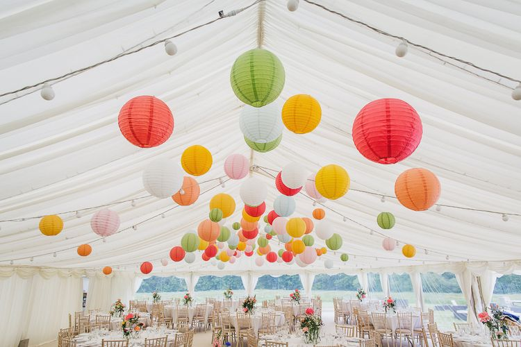 Colourful Hanging Paper Lantern in Marquee Reception