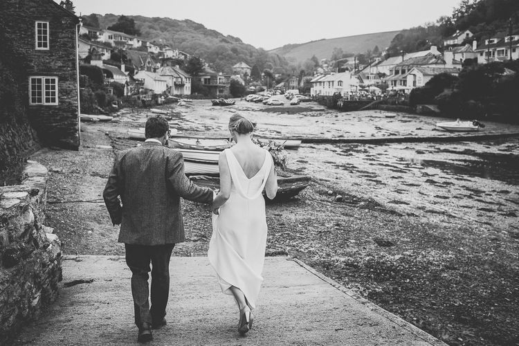 Bride & Groom Devon Coast Portrait