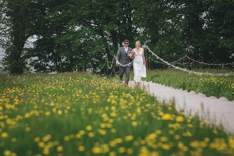 Bride & Groom Meadow Portrait