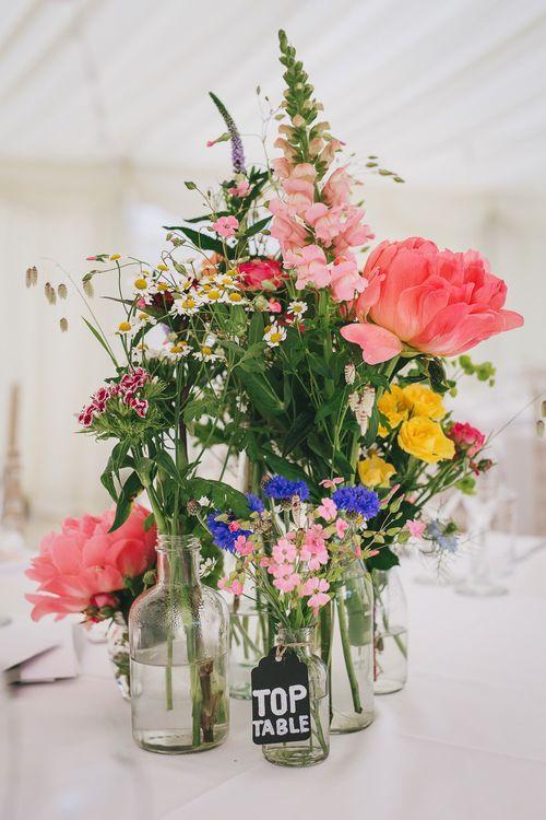 Bright Wild Flower Centrepieces