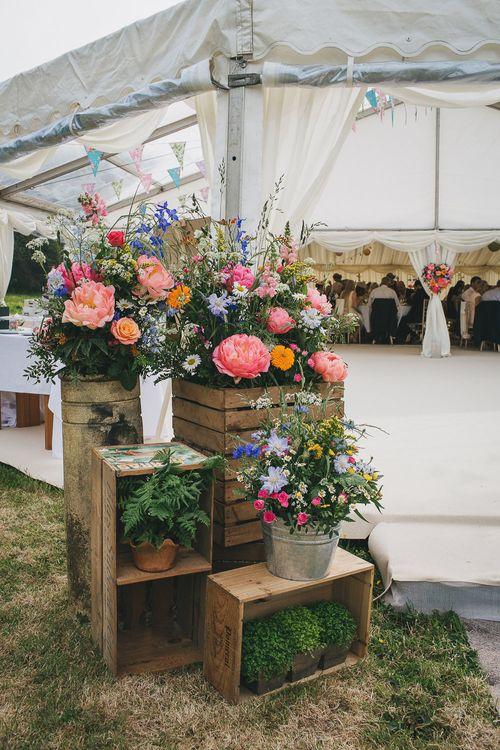 Rustic Crates & Bright Wild Flower Display Wedding Decor