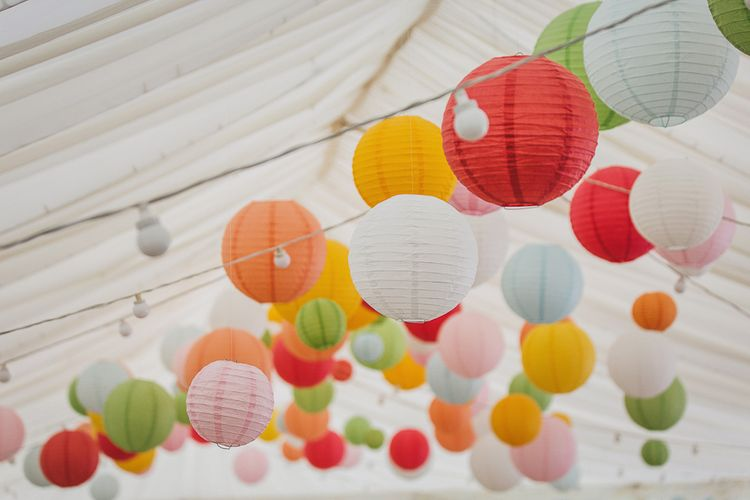 Brightly Coloured Hanging Paper Lanterns
