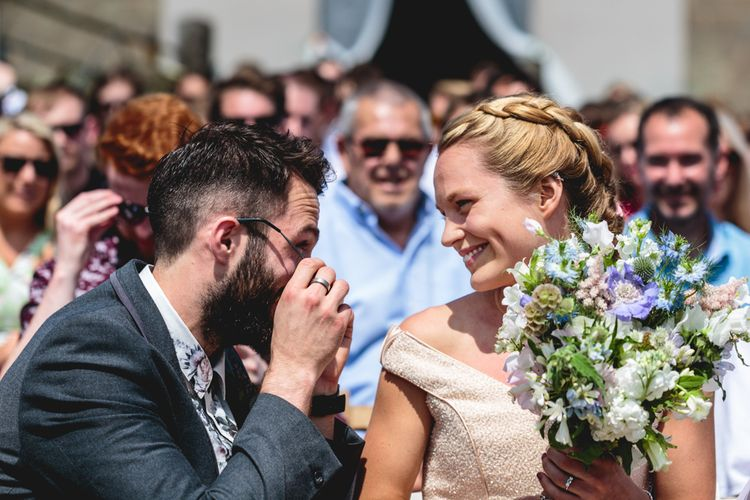 DIY Festival Wedding In Sheffield With Bride In Bespoke Blush Skirt & Sequinned Top With Garden Games & Images From Kate Jackson Photography