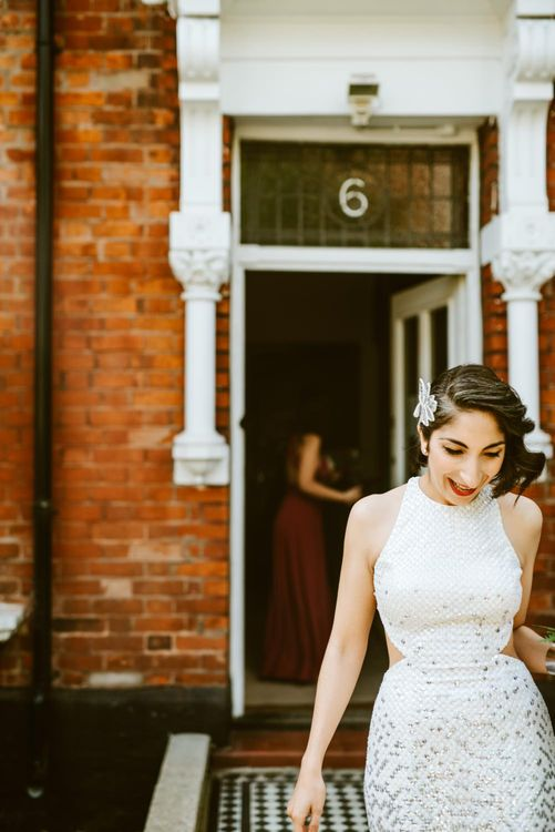 Bride in Silver Sequin Gown from Etsy