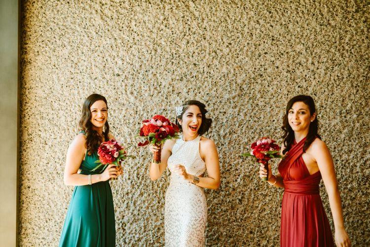 Bride & Bridesmaids in Different Coloured Wrap Dresses