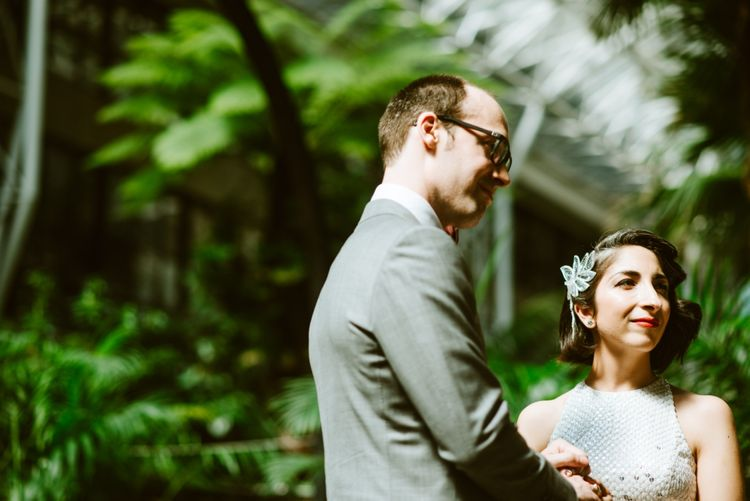 Bride & Groom Wedding Ceremony at the Barbican Conservatory London