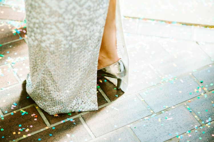 Metallic Silver Clarks Wedding Shoes
