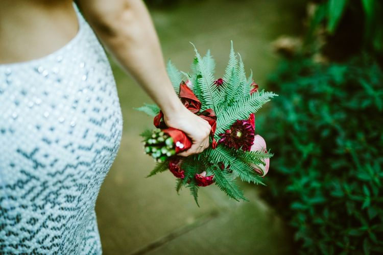 Tropical Bright Flowers & Foliage Bridal Bouquet
