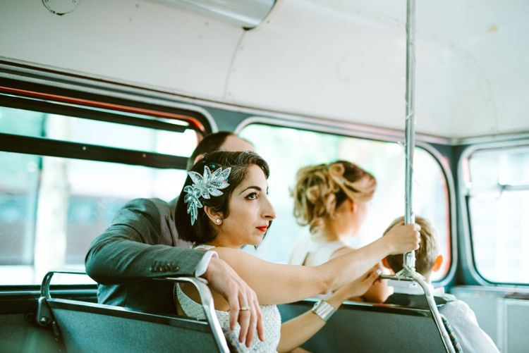 Bride & Groom on the Red Double Decker Bus