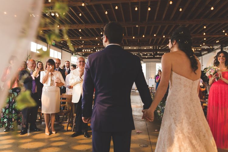 Fabulous London Riverside Venue Chainstore at Trinity Buoy Wharf. Watters Wedding Dress, Images by Kirsty Mackenzie Photography.