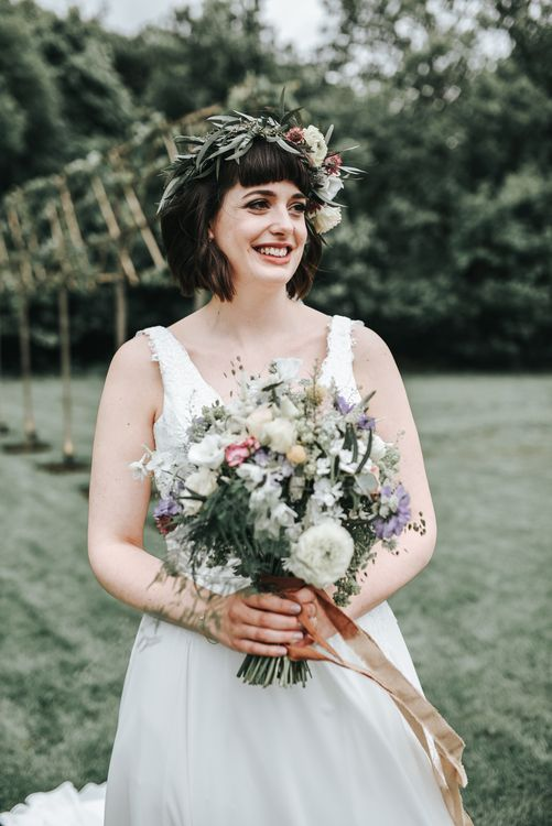 Bride With Rustic Bouquet & Flower Crown