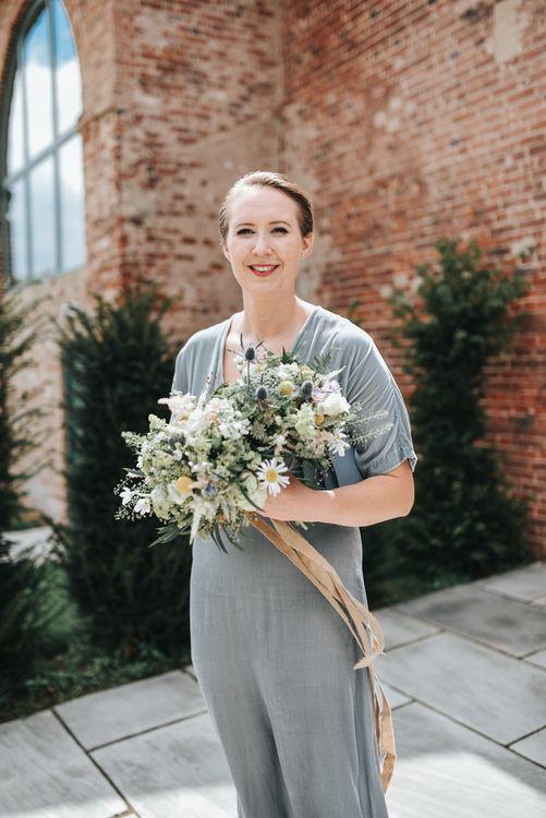 Rustic Wedding Bouquet For Bridesmaid In Grey Dress