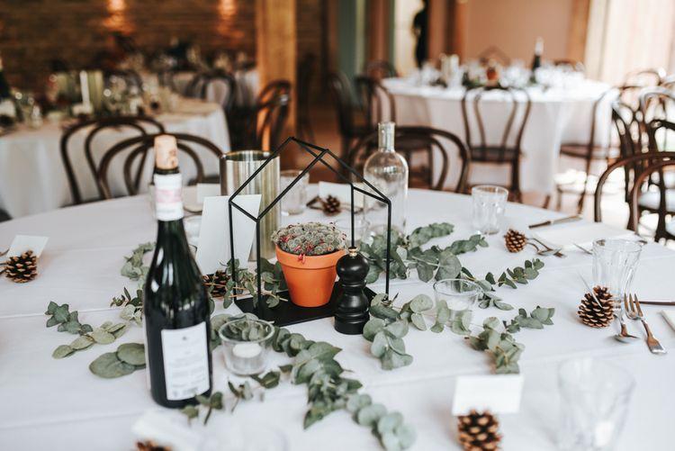 Elegant White Table Linen & Foliage Runners For Wedding