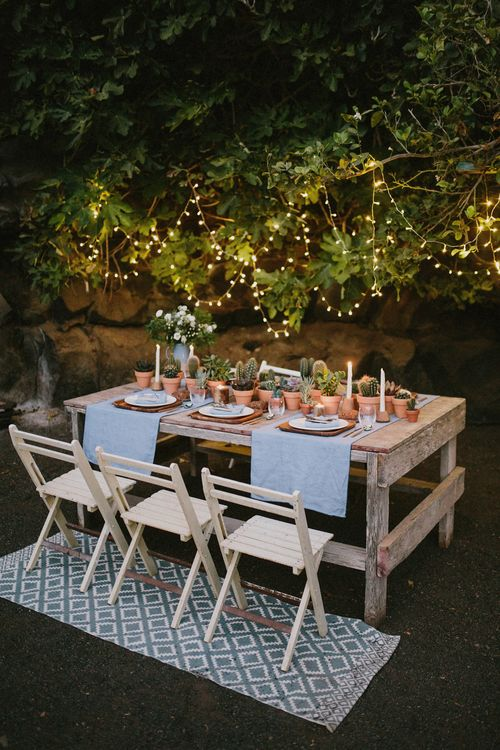 Rustic Tablescape For Wedding With Terracotta & Cactii Plants
