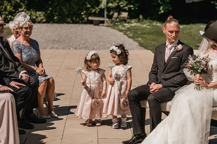 Flower Girls in Pink Monsoon Dresses   Outdoor Wedding at The Haven Hotel in Southern Ireland   Jason Mark Harris Photography