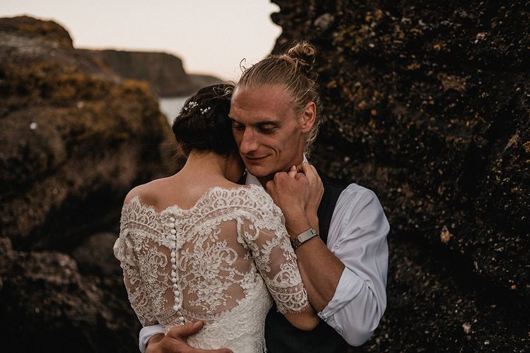 Bride in Pronovias Princia Lace Gown & Jacket   Outdoor Wedding at The Haven Hotel in Southern Ireland   Jason Mark Harris Photography