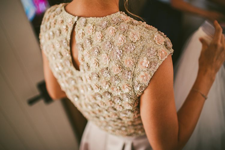Bride in Embellished Top by Suzannah | Nautical At Home Marquee Wedding by 81 Events | RS Brown Photography