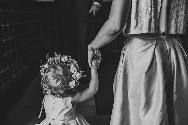 Flower Girl with Flower Crown | Nautical At Home Marquee Wedding by 81 Events | RS Brown Photography
