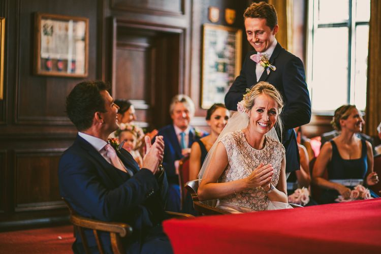Wedding Ceremony at Henley Town Hall | Bride in Separates by Suzannah | Groom in Navy Laurence Menswear Suit | Nautical At Home Marquee Wedding by 81 Events | RS Brown Photography