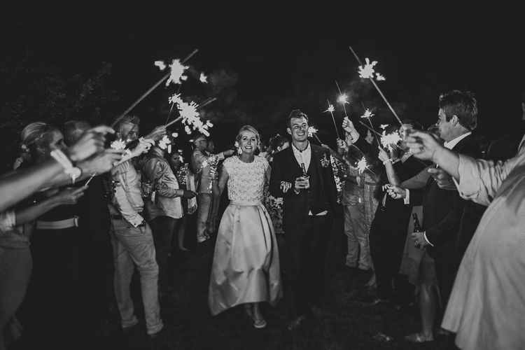 Sparkler Send Off | Bride in Separates by Suzannah | Groom in Navy Laurence Menswear Suit | Nautical At Home Marquee Wedding by 81 Events | RS Brown Photography