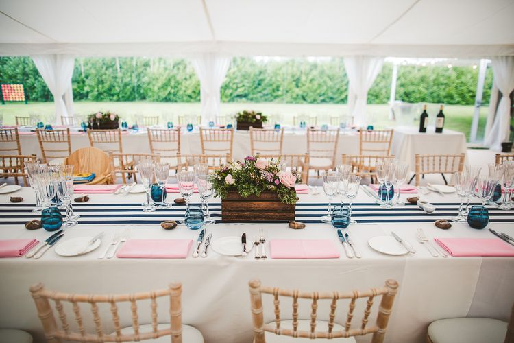 Table Decor | Nautical At Home Marquee Wedding by 81 Events | RS Brown Photography