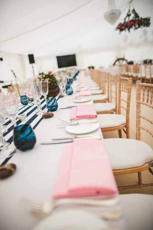 Place Setting | Nautical At Home Marquee Wedding by 81 Events | RS Brown Photography