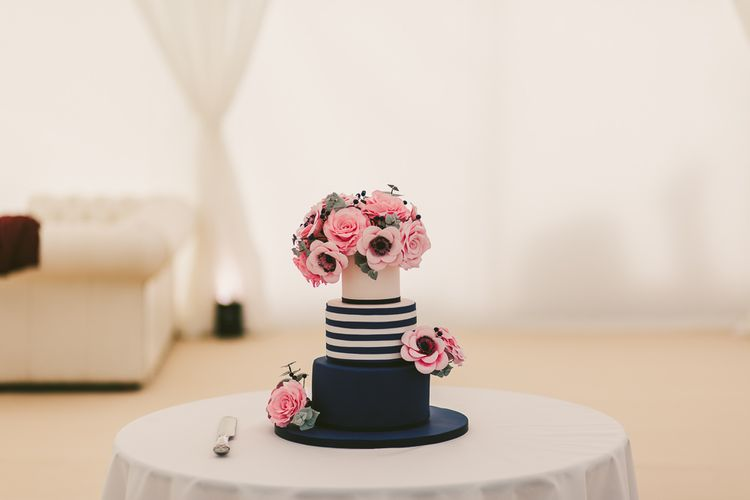 Navy, White & Pink Flower Wedding Cake by Indy Queen of Cakes | Nautical At Home Marquee Wedding by 81 Events | RS Brown Photography