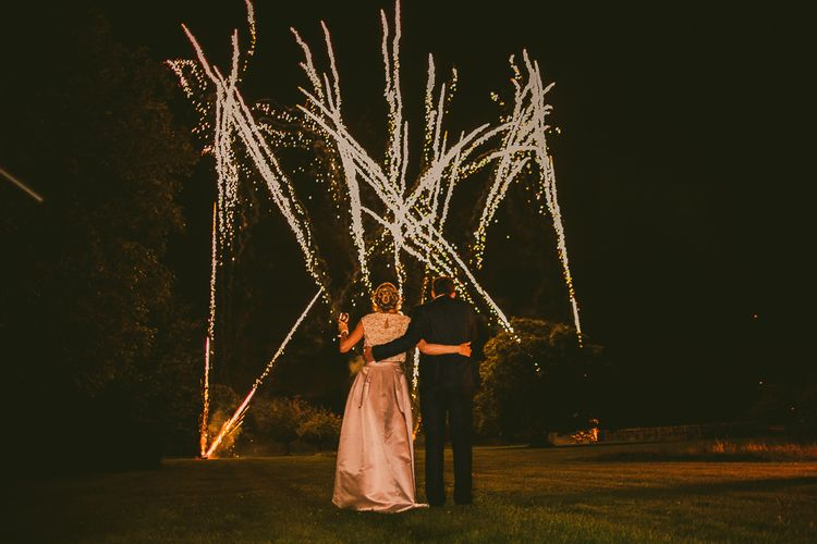 Fireworks Display | Bride in Separates by Suzannah | Groom in Navy Laurence Menswear Suit | Nautical At Home Marquee Wedding by 81 Events | RS Brown Photography