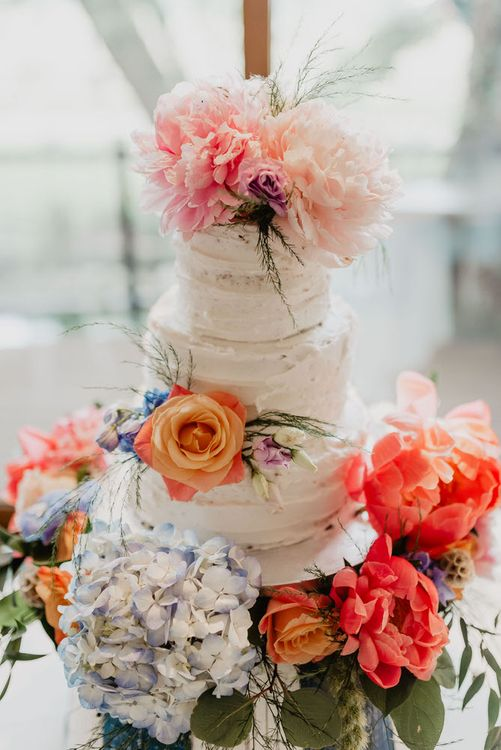 Rustic Wedding Cake With Peonies