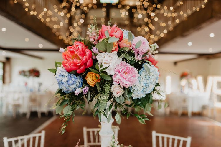 Peony Floral Table Arrangement For Wedding