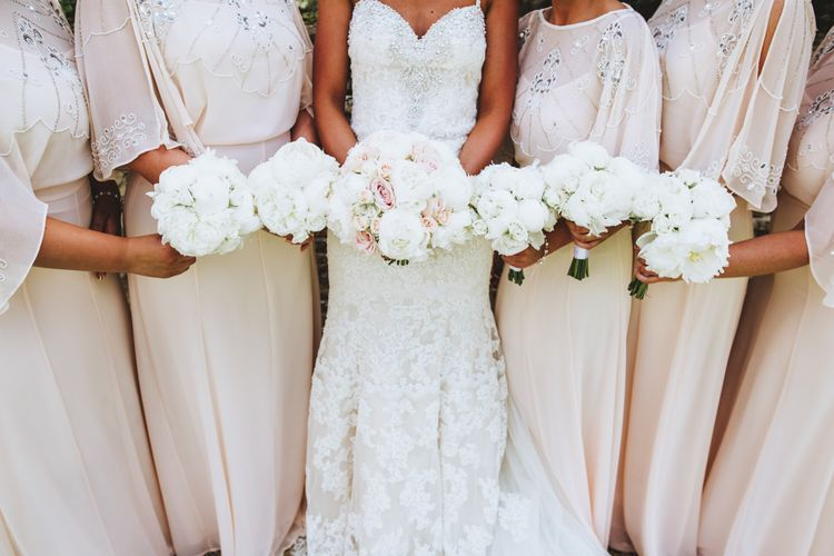 Fluffy Pink & White Wedding Bouquets