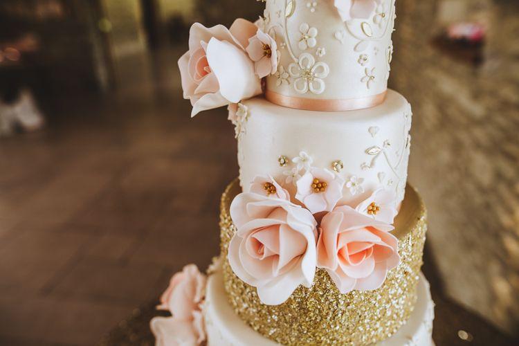 Pink & Gold Glitter Wedding Cake