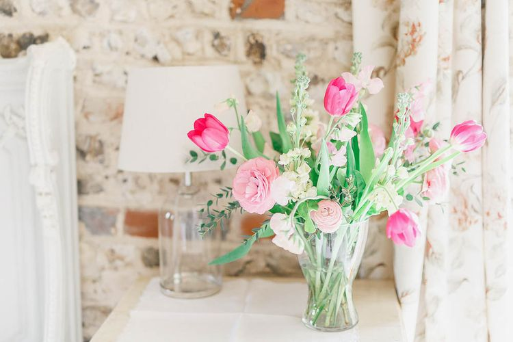 Tulip Floral Arrangement | Peach & White Wedding at Upwaltham Barns | White Stag Wedding Photography
