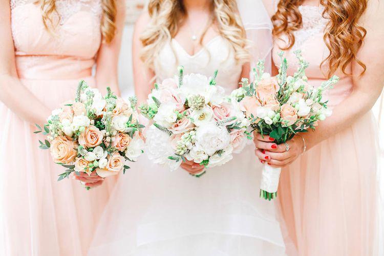 Peach & White Wedding Bouquet | Peach & White Wedding at Upwaltham Barns | White Stag Wedding Photography