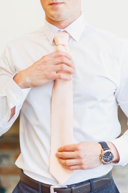 Peach Wedding Tie | Peach & White Wedding at Upwaltham Barns | White Stag Wedding Photography