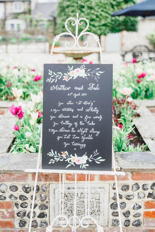 Chalkboard Wedding Sign | Peach & White Wedding at Upwaltham Barns | White Stag Wedding Photography
