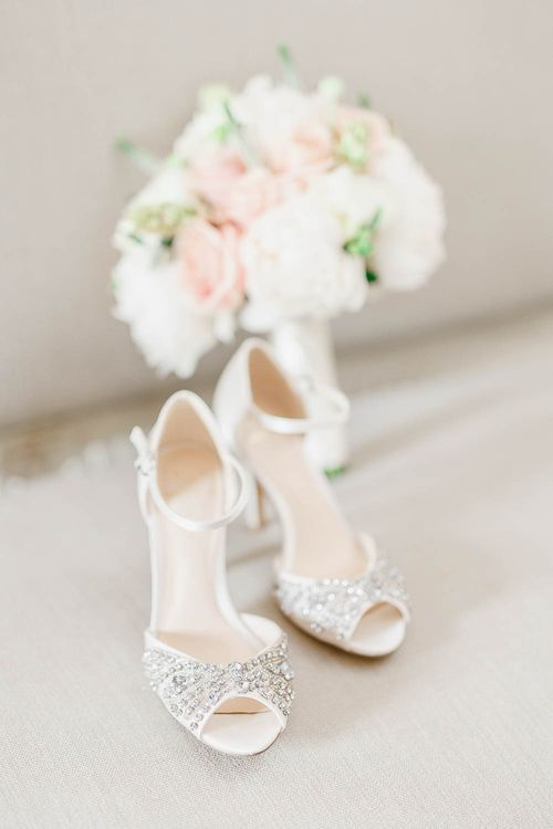Bridal Accessories | Wedding Shoes | Peach & White Wedding at Upwaltham Barns | White Stag Wedding Photography