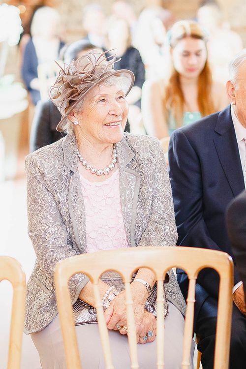 Wedding Ceremony | Peach & White Wedding at Upwaltham Barns | White Stag Wedding Photography