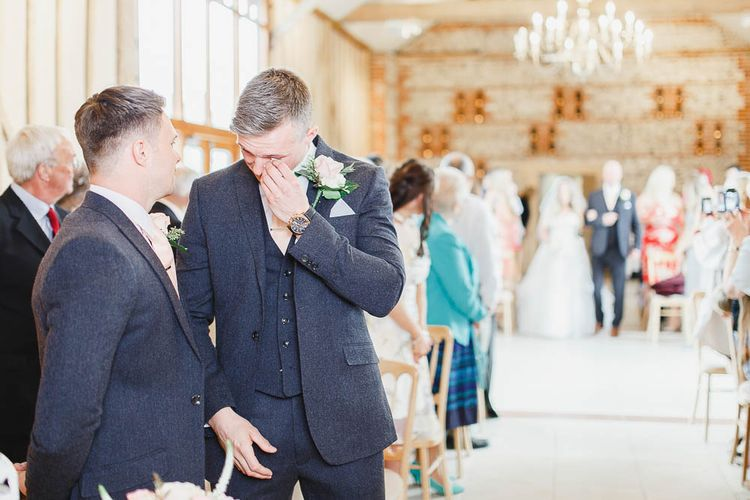 Wedding Ceremony | Emotional Groom in Marks and Spencer Suit | Peach & White Wedding at Upwaltham Barns | White Stag Wedding Photography