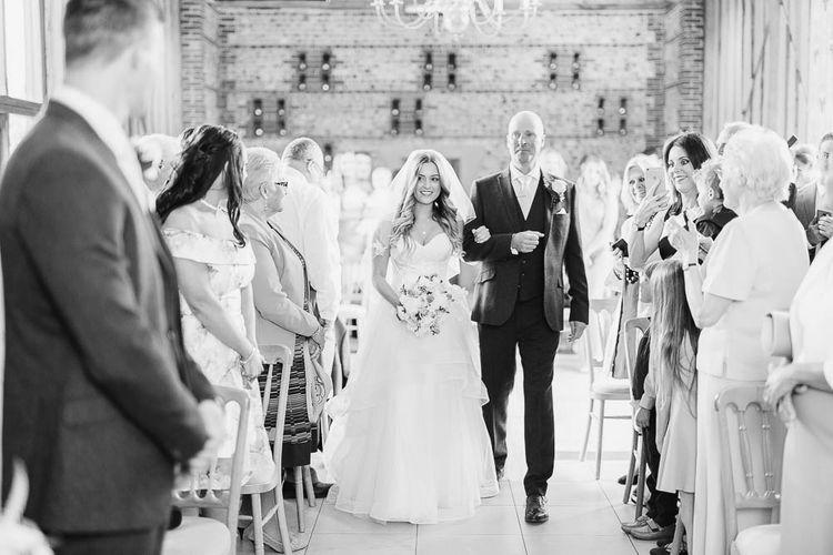 Bride in Warren Watters Gown | Peach & White Wedding at Upwaltham Barns | White Stag Wedding Photography