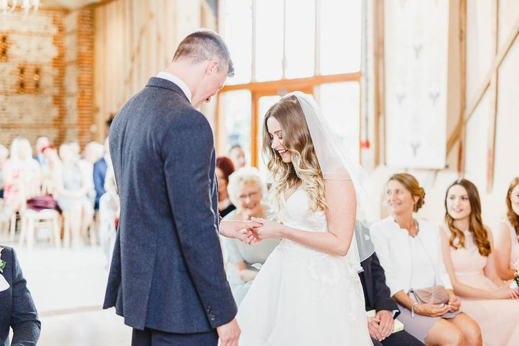 Wedding Ceremony | Bride in Warren Watters Gown | Groom in Marks and Spencer Suit | Peach & White Wedding at Upwaltham Barns | White Stag Wedding Photography
