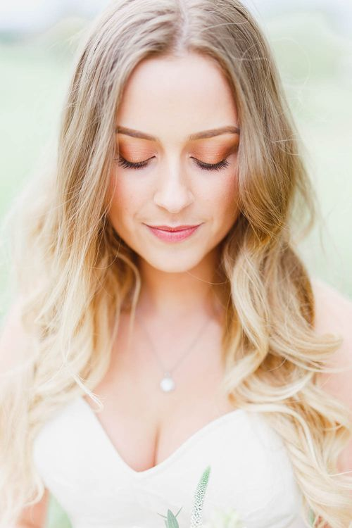 Natural Bridal Makeup | Bride in Warren Watters Gown | Peach & White Wedding at Upwaltham Barns | White Stag Wedding Photography