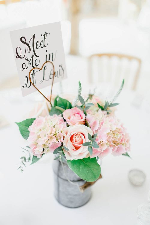 Blush Bloom Floral Centrepieces | Peach & White Wedding at Upwaltham Barns | White Stag Wedding Photography