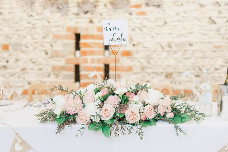 Top Table Floral Arrangement | Peach & White Wedding at Upwaltham Barns | White Stag Wedding Photography