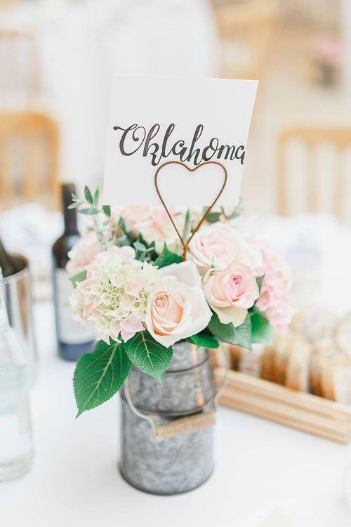 Peach & white Flower Centrepieces | Peach & White Wedding at Upwaltham Barns | White Stag Wedding Photography