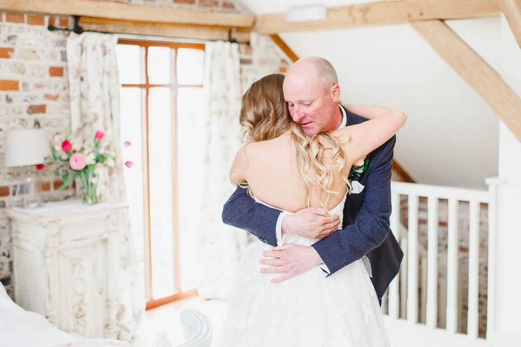 Father of the Bride | Peach & White Wedding at Upwaltham Barns | White Stag Wedding Photography